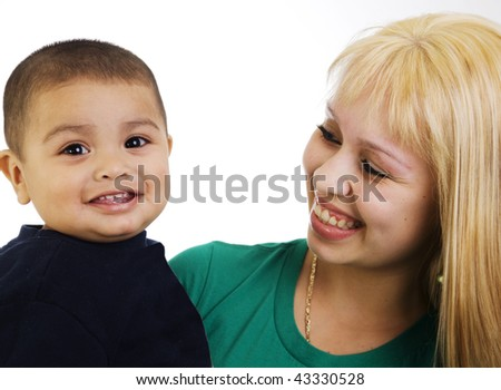 Portrait of a happy young mom and son