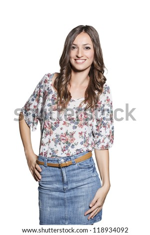 Portrait of a happy young on white background - stock photo