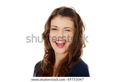 Portrait of a happy young teen woman. Isolated on white - stock photo