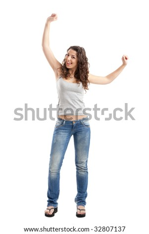 Portrait of a happy young woman isolated over white background