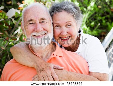 Portrait of a healthy, happy senior couple in love. - stock photo