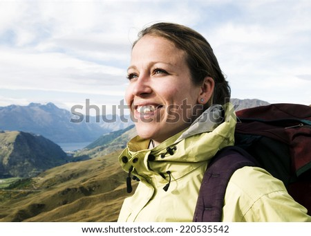 Portrait of a Hiker, Queenstown, New Zealand - stock photo
