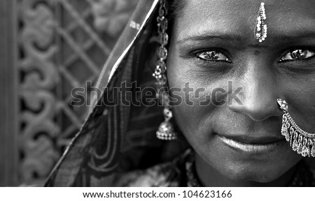Portrait of a India Rajasthani woman black and white - stock photo