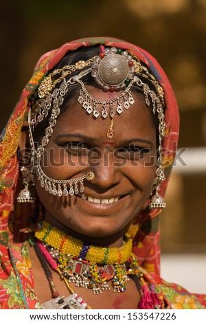 Portrait of a India Rajasthani woman closeup - stock photo