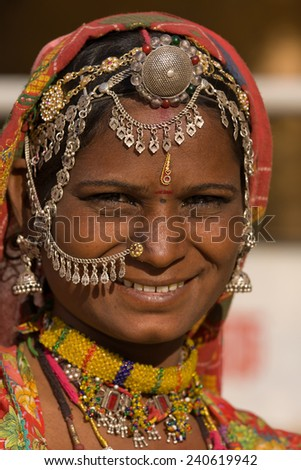 Portrait of a India Rajasthani woman closeup