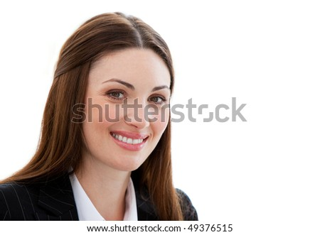 Portrait of a jolly businesswoman against a white background