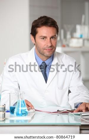 portrait of a lab assistant - stock photo