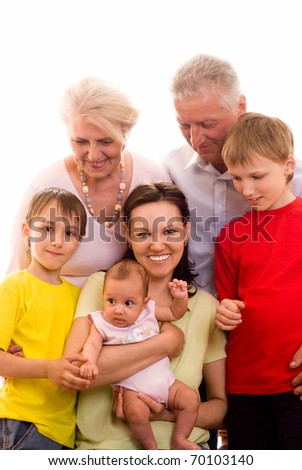 portrait of a large family - stock photo
