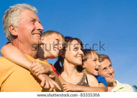 portrait of a large family at nature - stock photo