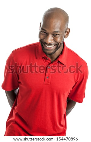 Portrait of a late 20s handsome black man with cute happy expression isolated on white