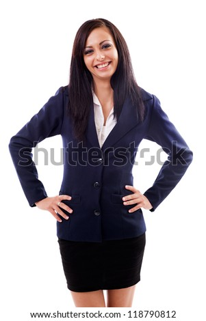 Portrait of a latin businesswoman standing with hand on hips isolated on white background - stock photo