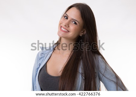 Portrait of a latina young woman - stock photo