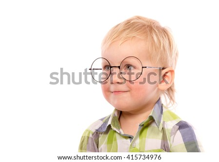 Portrait of a little boy in funny glasses, isolated on white - stock photo