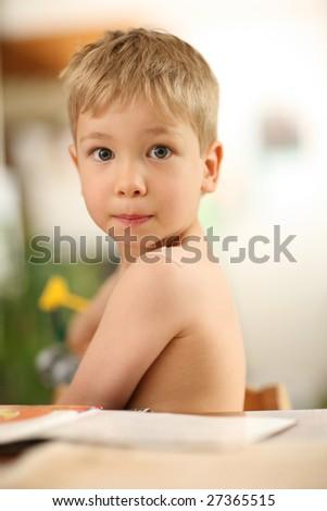 Portrait of a little boy. Shallow DOF. - stock photo