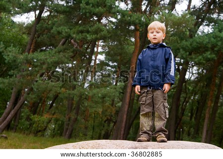 portrait of a little boy standing in the forest - stock photo