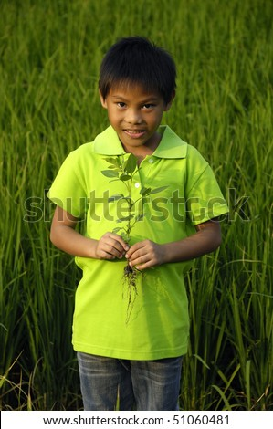 Portrait of a little child in the green rice fields