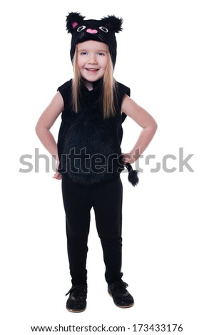portrait of a little cute girl dressed as a kitten isolated on white background - stock photo