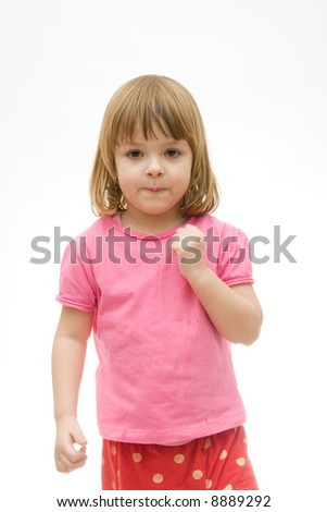 portrait of a little, cute girl isolated on white