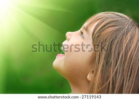 Portrait of a little cute laughing girl - stock photo