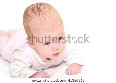 portrait of a little girl child age two months