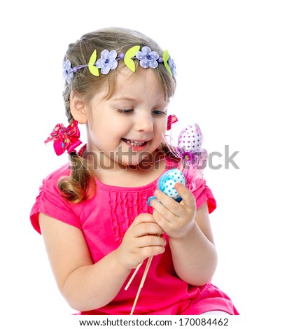 portrait of a little girl holding Easter eggs, holiday, Easter
