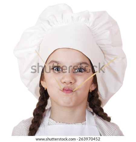 Portrait of a little girl in a white apron and spaghetti, isolated on white background - stock photo