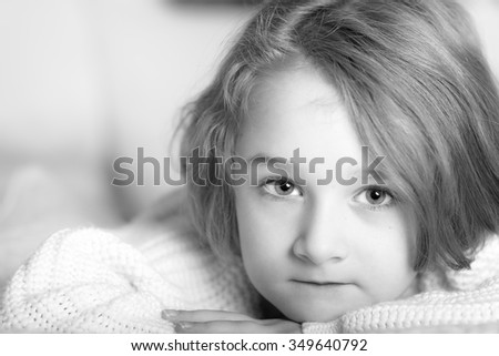 Portrait of a little girl in black and white - stock photo
