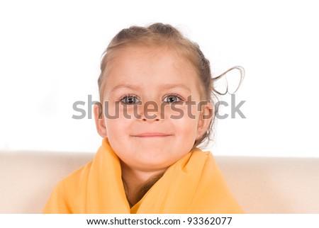 portrait of a little girl  in towel - stock photo