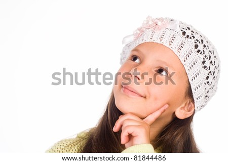 portrait of a little girl on white - stock photo