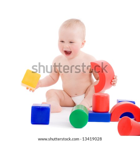 Portrait of a little girl playing with bright geometric toys on playground. Image isolated on white with light shadows