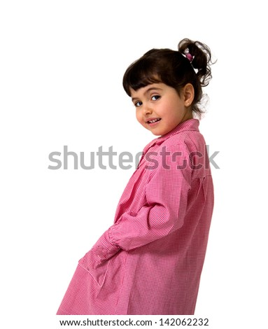 portrait of a little girl with a school dress isolated on white