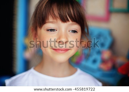 portrait of a little girl with close