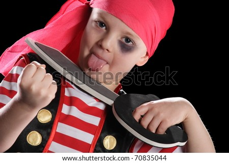 portrait of a little pirate with a sword