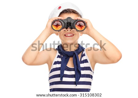 Portrait of a little sailor boy looking through binoculars isolated on white background - stock photo