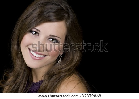 Portrait of a lovely brunette with copy space