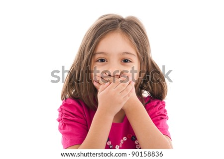 portrait of a lovely little girl, covering her mouth with both hands, isolated on white background - stock photo
