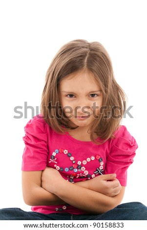 portrait of a lovely little girl, upset, angry, isolated on white background - stock photo