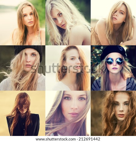 Portrait of a lovely young girls. Set of nine portraits - stock photo
