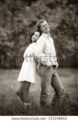 Portrait of a loving couple in black and white colors