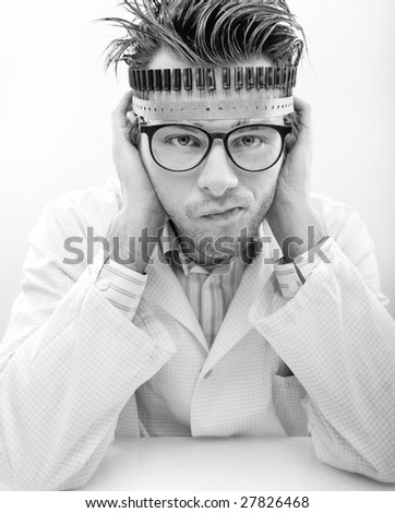 Portrait of a madman scientist - stock photo
