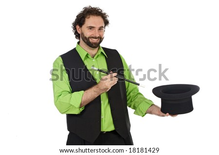Portrait of a magician with his barite on a over white background