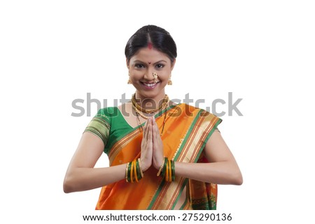 Portrait of a Maharashtrian woman greeting - stock photo