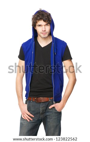 Portrait of a male fashion model wearing a blue hooded sweatshirt. Isolated on white background - stock photo