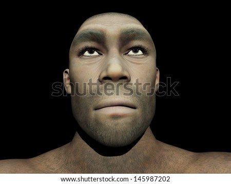 Portrait of a male Homo Erectus, prehistoric ancestor that lived around 1.8 million years ago, in black background