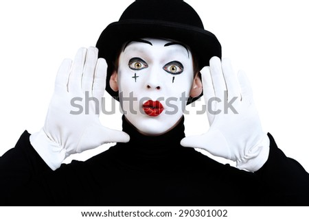 Portrait of a male mime artist. Isolated over white. - stock photo