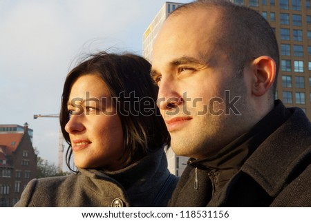 Portrait of a man and woman - stock photo