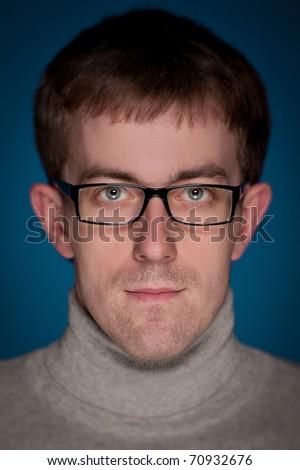 Portrait of a Man. Close up. Selective focus. - stock photo