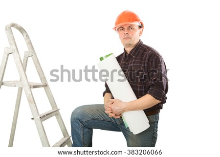 Portrait of a man construction builder in helmet isolated on white background. - stock photo