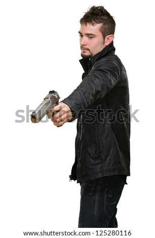 Portrait Of A Man Holding Gun Isolated On White Background