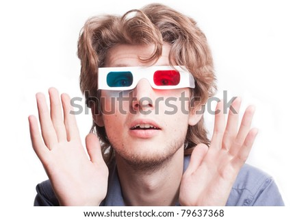 portrait of a man in a 3D (stereo) glasses